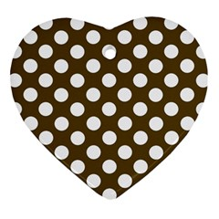 Brown Polkadot Background Ornament (heart) by Nexatart