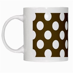 Brown Polkadot Background White Mugs