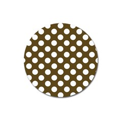 Brown Polkadot Background Magnet 3  (round) by Nexatart