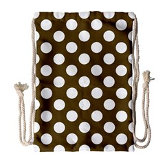 Brown Polkadot Background Drawstring Bag (large)