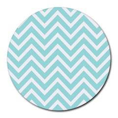 Chevrons Zigzags Pattern Blue Round Mousepads by Nexatart