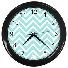 Chevrons Zigzags Pattern Blue Wall Clocks (black)