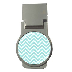 Chevrons Zigzags Pattern Blue Money Clips (round)