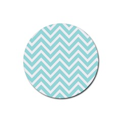 Chevrons Zigzags Pattern Blue Rubber Round Coaster (4 Pack)