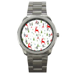 Christmas Pattern Sport Metal Watch by Nexatart