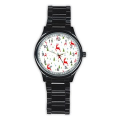Christmas Pattern Stainless Steel Round Watch by Nexatart