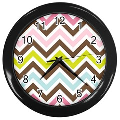 Chevrons Stripes Colors Background Wall Clocks (black)