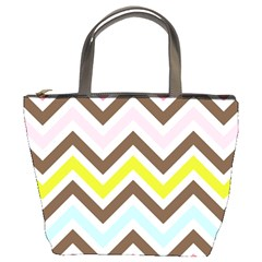 Chevrons Stripes Colors Background Bucket Bags by Nexatart
