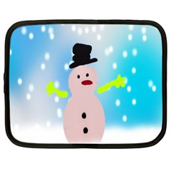 Christmas Snowman Netbook Case (xxl)  by Nexatart