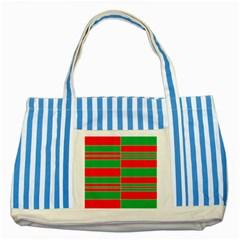 Christmas Colors Red Green Striped Blue Tote Bag by Nexatart