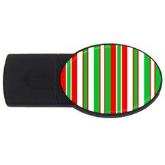 Christmas Holiday Stripes Red Green,white Usb Flash Drive Oval (4 Gb) by Nexatart