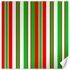 Christmas Holiday Stripes Red Green,white Canvas 16  X 16   by Nexatart