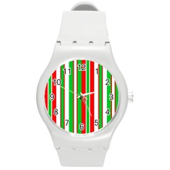 Christmas Holiday Stripes Red Green,white Round Plastic Sport Watch (m)