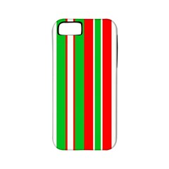 Christmas Holiday Stripes Red Green,white Apple Iphone 5 Classic Hardshell Case (pc+silicone)