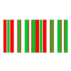 Christmas Holiday Stripes Red Green,white Satin Shawl by Nexatart