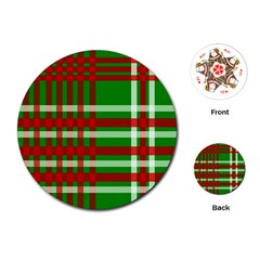 Christmas Colors Red Green White Playing Cards (round)