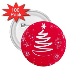 Christmas Tree 2 25  Buttons (100 Pack)  by Nexatart