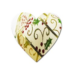 Christmas Ribbon Background Heart Magnet by Nexatart
