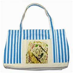 Christmas Ribbon Background Striped Blue Tote Bag