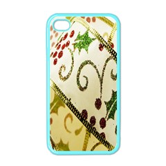 Christmas Ribbon Background Apple Iphone 4 Case (color) by Nexatart