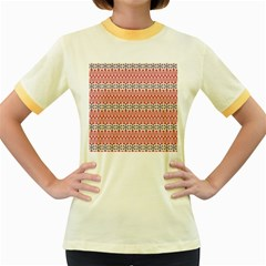 Christmas Pattern Vintage Women s Fitted Ringer T Shirts