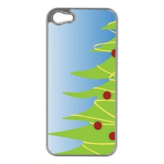 Christmas Tree Christmas Apple Iphone 5 Case (silver)