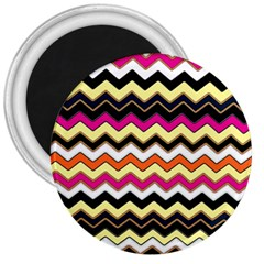 Colorful Chevron Pattern Stripes 3  Magnets by Nexatart