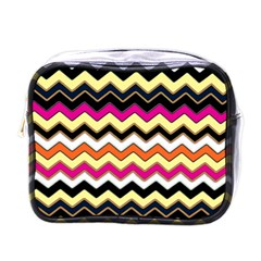 Colorful Chevron Pattern Stripes Mini Toiletries Bags by Nexatart