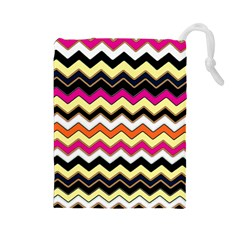 Colorful Chevron Pattern Stripes Drawstring Pouches (large)  by Nexatart