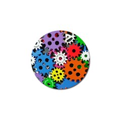 Colorful Toothed Wheels Golf Ball Marker by Nexatart