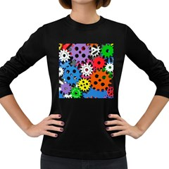 Colorful Toothed Wheels Women s Long Sleeve Dark T Shirts by Nexatart