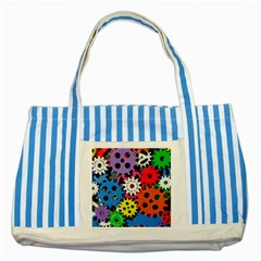 Colorful Toothed Wheels Striped Blue Tote Bag by Nexatart