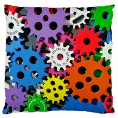 Colorful Toothed Wheels Large Cushion Case (one Side) by Nexatart