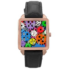 Colorful Toothed Wheels Rose Gold Leather Watch  by Nexatart