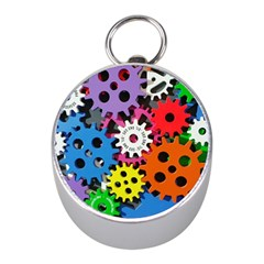 Colorful Toothed Wheels Mini Silver Compasses by Nexatart