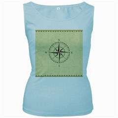 Compass Vintage South West East Women s Baby Blue Tank Top by Nexatart