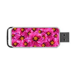 Dahlia Flowers Pink Garden Plant Portable Usb Flash (two Sides) by Nexatart