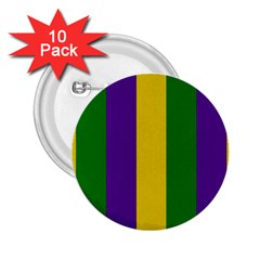 Mardi Gras Striped Pattern 2 25  Buttons (10 Pack)  by dflcprints