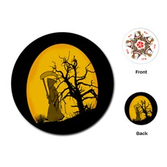 Death Haloween Background Card Playing Cards (round)