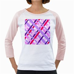 Diagonal Gingham Geometric Girly Raglans by Nexatart