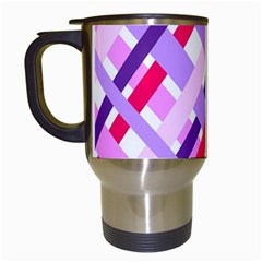 Diagonal Gingham Geometric Travel Mugs (white) by Nexatart