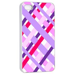 Diagonal Gingham Geometric Apple Iphone 4/4s Seamless Case (white) by Nexatart
