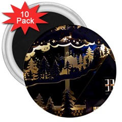 Christmas Advent Candle Arches 3  Magnets (10 Pack)  by Nexatart
