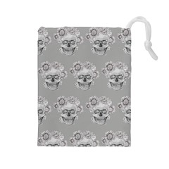 Grey Floral Skull Sketch Cushion Drawstring Pouches (large)  by Coralascanbe