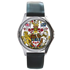 Coat Of Arms Of Canada  Round Metal Watch by abbeyz71