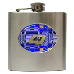 Processor Cpu Board Circuits Hip Flask (6 Oz) by Nexatart