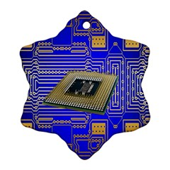 Processor Cpu Board Circuits Snowflake Ornament (two Sides) by Nexatart