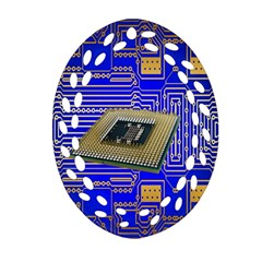 Processor Cpu Board Circuits Oval Filigree Ornament (two Sides) by Nexatart