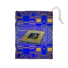 Processor Cpu Board Circuits Drawstring Pouches (large)  by Nexatart