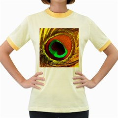 Peacock Feather Eye Women s Fitted Ringer T Shirts